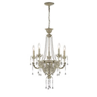 Lite Source Calanthe 5 Light Chandelier in Antique Ivory With Crystal C71220