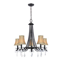 Lite Source Macy 5 Light Chandelier in Dark Bronze with Fabric Shade C71285