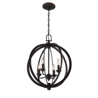 Lite Source C71357 Oria 4 Light 18 inch Dark Bronze Chandelier Ceiling Light