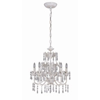 Lite Source Evelyn 5 Light Chandelier in Antique White with Prism Crystal C7241