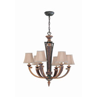 Lite Source Verbost 6 Light Chandelier in Aged Bronze with Fabric Shade C7659