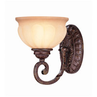Lite Source Maxine 1 Light Wall Lamp in Antique Bronze with Light Amber Glass C7935-W
