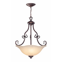 Lite Source Laurent 3 Light Pendant in Antique Bronze with Light Amber Glass C7955