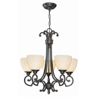 Lite Source Dalton 5 Light Chandelier in Dark Bronze with Glass Shade C7988