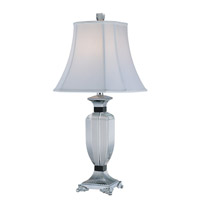 Lite Source Clarte 1 Light Table Lamp in Crystal and Chrome with White Fabric Shade EL-30028