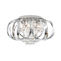 Creola 4 Light 15 inch Chrome/Crystal Flush Mount Ceiling Light