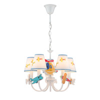 Lite Source Aeroplani 5 Light Chandelier in Airplane with Fabric Shade IK-1002