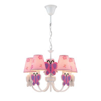 Lite Source Farfalla 5 Light Chandelier in Butterfly with Fabric Shade IK-1003
