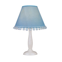 Lite Source Pompom 1 Light Table Lamp in White Wood with Light Blue Dot Shade IK-6098L/BLU