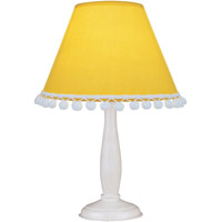 Lite Source Pompom 1 Light Table Lamp in White Wood with Light Yellow Dot Shade IK-6098L/YLW