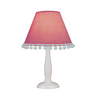 Lite Source Pompom 1 Light Table Lamp in White Wood with Pink Dot Shade IK-6098PINK