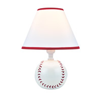 Lite Source Pitch Me 1 Light CFL Table Lamp in Baseball Ceramic with Fabric Shade IK-6101