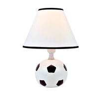 Lite Source Kick Me 1 Light CFL Table Lamp in Soccer Ceramic with Fabric Shade IK-6102
