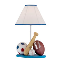 Lite Source All Sport II 1 Light CFL Table Lamp in Blue with Fabric Shade IK-6109