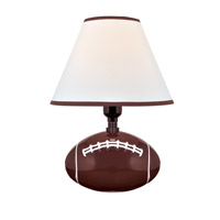 Lite Source Pass Me 1 Light CFL Table Lamp in Football Ceramic with Fabric Shade IK-6100