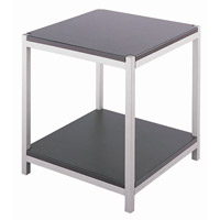 Vista 22 X 20 inch Satin Steel and Dark Walnut Wood End Table