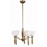Lite Source Daffodil 5 Light Chandelier in Bronze with White Glass LS-10315BRZ/WHT