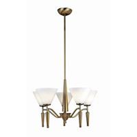 Lite Source Martini 5 Light Chandelier in Bronze with White Glass LS-10325BRZ/WHT