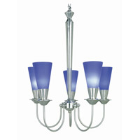 Lite Source Monarch 5 Light Chandelier in Polished Steel and Blue LS-10925PS/BLU
