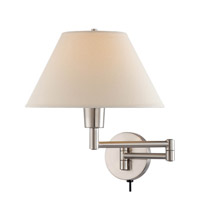 Lite Source Swinger 1 Light Wall Lamp in Polished Steel with Off-White Shade LS-1171PS