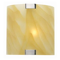 Lite Source Nimbus 1 Light Sconce in Polished Steel with Light Amber Glass Shade LS-1395L/AMB