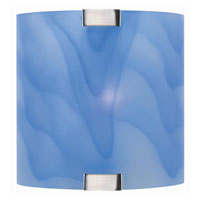 Lite Source Nimbus 1 Light Sconce in Polished Steel with Light Blue Glass Shade LS-1395L/BLU