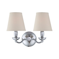 Lite Source Althea 2 Light Wall Lamp in Chrome with White Fabric Shade LS-13992C