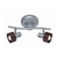 Lite Source Duccio 2 Light Wall Lamp in Silver with Dark Walnut Shade LS-16092