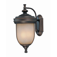 Lite Source Shanton 3 Light Outdoor Wall Lantern in Antique Rust with Light Amber Glass LS-16131