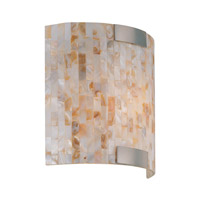 Lite Source Schale 1 Light Sconce in Polished Steel with Shell Mosaic Shade LS-16381