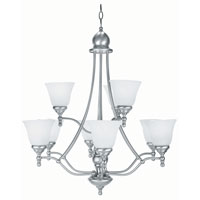 Lite Source Chambord 9 Light Chandelier in Polished Steel with Cloud Glass Shade LS-16389PS/CLD