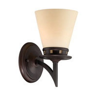 Lite Source Erina 1 Light Wall Lamp in Aged Bronze with Glass Shade LS-16451