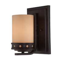 Lite Source Melita 1 Light Wall Lamp in Dark Bronze with Glass Shade LS-16461