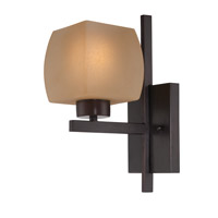Lite Source Solo 1 Light Wall Lamp in Dark Bronze with Glass Shade LS-16481