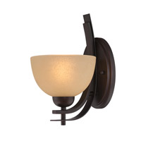 Lite Source Frenchie 1 Light Wall Lamp in Dark Bronze with Glass Shade LS-16491