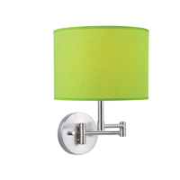 Lite Source Kasen 1 Light CFL Wall Lamp in Polished Steel with Light Green Fabric Shade LS-16515L/GRN