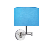 Lite Source Kasen 1 Light CFL Wall Lamp in Polished Steel with Turquoise Fabric Shade LS-16515TURQ
