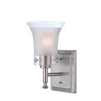 Lite Source Niccolo 1 Light Wall Lamp in Polished Steel with Glass Shade LS-16731