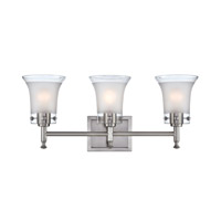 Lite Source Niccolo 3 Light Vanity in Polished Steel with Glass Shade LS-16733
