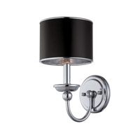 Lite Source Nicci 1 Light Wall Lamp in Chrome with Black Paper Shade LS-16806