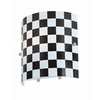 Lite Source Checker 1 Light Sconce with Black Check Glass Shade LS-16845BLK