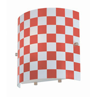 Lite Source Checker 1 Light Sconce with Red Check Glass Shade LS-16845RED