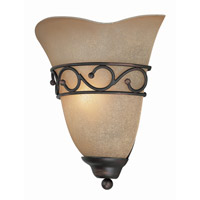 Lite Source Rosina 1 Light Sconce in Bronze with Light Amber Glass Shade LS-16885