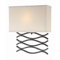 Lite Source Jaylee 1 Light CFL Wall Lamp in Dark Bronze with Beige Fabric Shade LS-16917