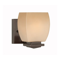 Lite Source Orazio 1 Light Wall Lamp in Dark Bronze with Amber Glass Shade LS-16961
