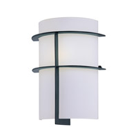 Lite Source Dion 1 Light CFL Wall Lamp in Black with Frost Glass Shade LS-16992