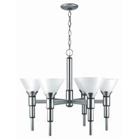 Lite Source Pillar 6 Light Chandelier in Satin Steel with Frost Glass Shade LS-17026