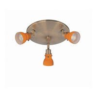 Lite Source Director II 3 Light Flush Mount in Antique Brass with Amber LS-17093AB/AMB