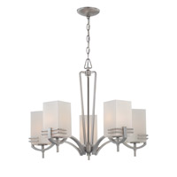 Lite Source Logan 5 Light Chandelier in Satin Steel with Frost Glass Shade LS-18015SS/FRO