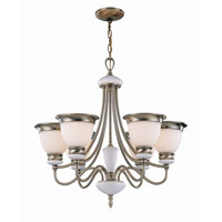 Lite Source Carter 6 Light Chandelier in Antique Brass with Frost Glass Shade LS-18426AB/FRO